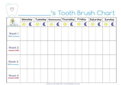 Tooth Brushing Chart Free Printable Pictures to pin on Pinterest