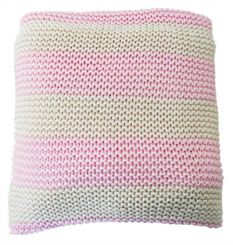 Alimrose-Kids Blankets-Chunky Rugby Stripe Knit Cot Blanket {Natural and Pink}
