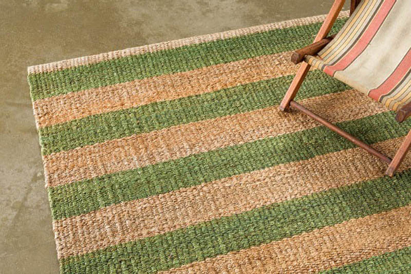 Armadillo Nest Weave Rug- Awning Stripe- Celadon/Natural