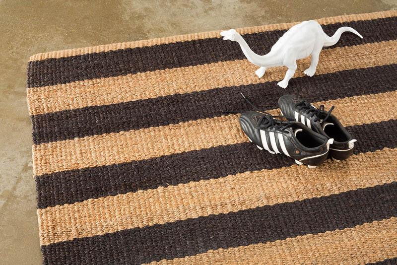 Armadillo Nest Weave Rug- Awning Stripe- Charcoal/Natural