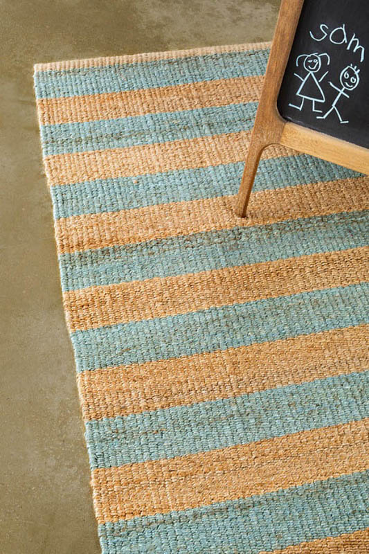 Armadillo Nest Weave Rug- Awning Stripe- Duck Egg/Natural
