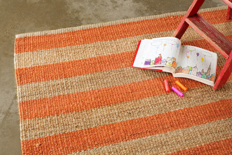 Armadillo Nest Weave Rug- Awning Stripe- Tangelo/Natural