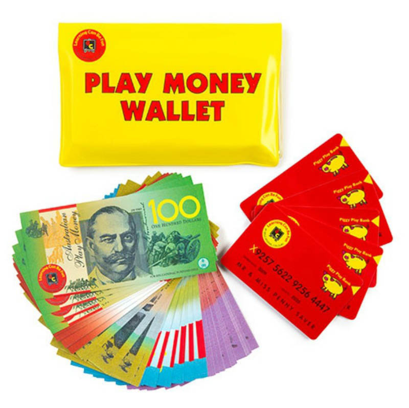 Australian Play Money: Notes, Credit Cards and Wallet