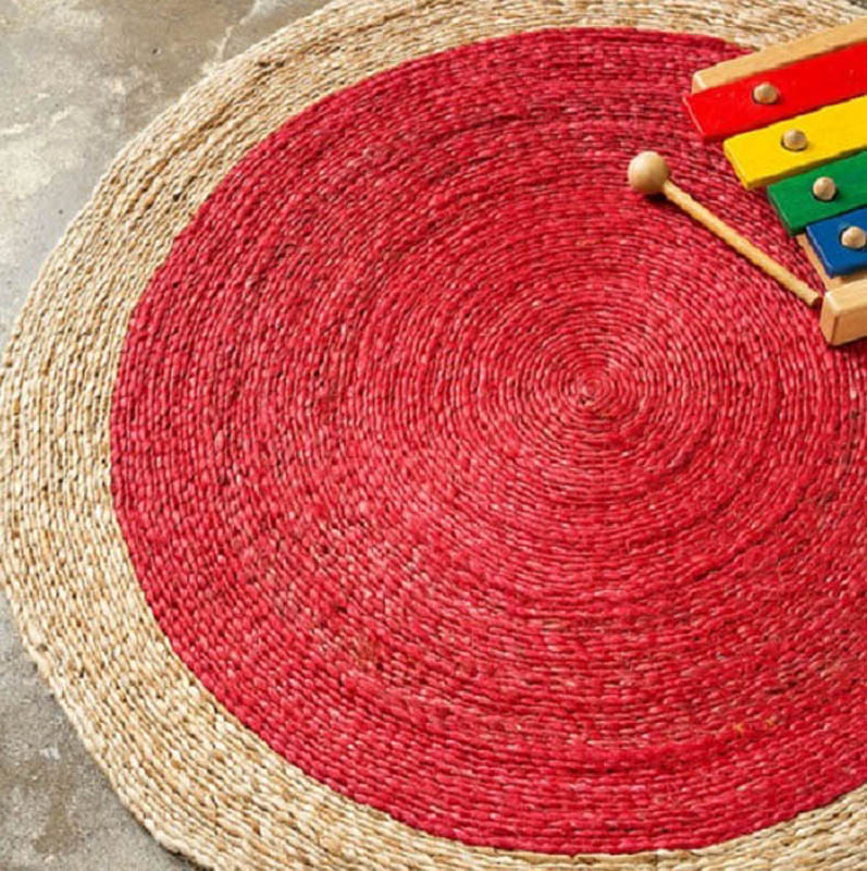 Braid Weave Pinwheel Rug - Natural / Chilli