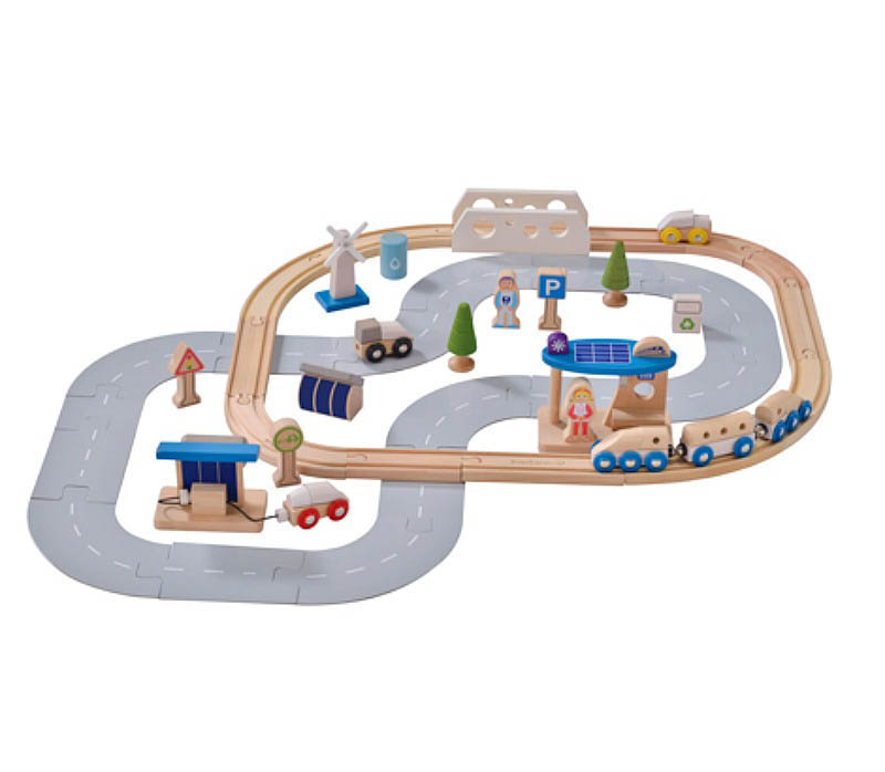 EverEarth-Wooden Toys-Eco City Train Set