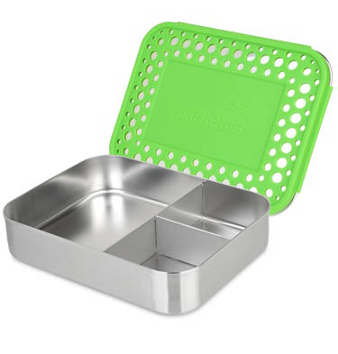 Lunchbots Stainless Steel Lunch Box - Bento Trio GREEN DOTS