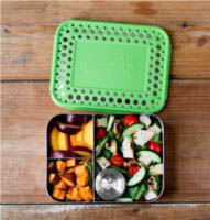 Lunchbots Stainless Steel Lunch Box - Bento Trio GREEN DOTS  - shown with the LB Condiments container (sold seperaty)
