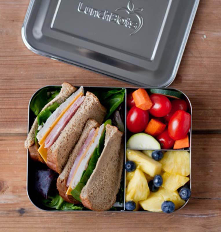 Lunchbots Stainless Steel Lunch Box - Bento Trio Stainless Steel Lid