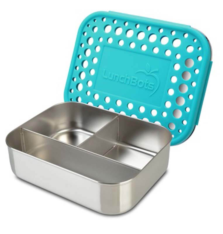 LunchBots Stainless Steel Lunch Box - Trio Dots AQUA