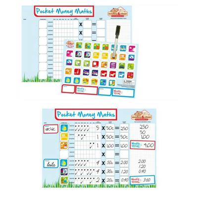 Monkey & Chops Fully Magnetised Pocket Money Maths Chart