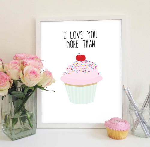 My Sweet Prints-Wall Art-I Love You More Than Cupcakes Poster {Pink}