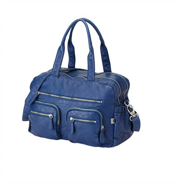 OiOi-Nappy Bags-Indigo Blue Faux Lizard Leather Carryall Bag