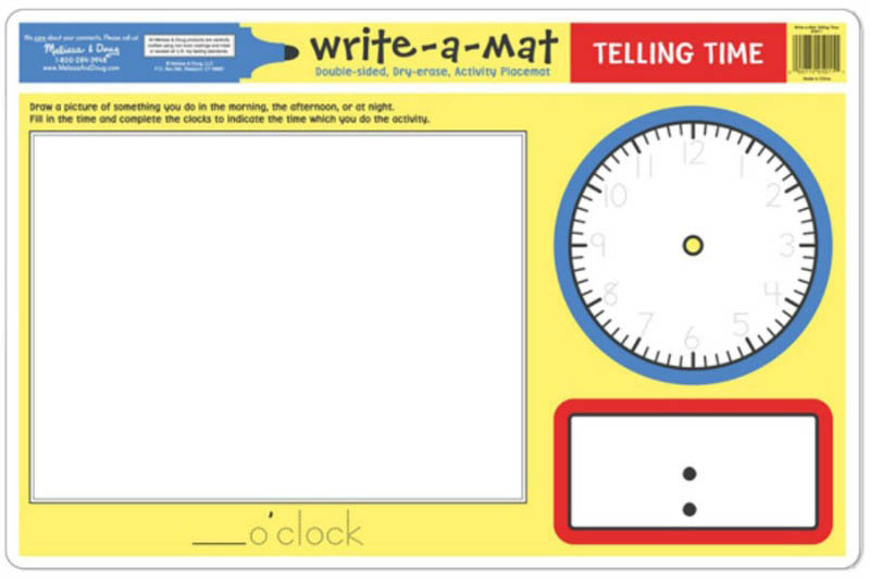 Telling Time Learning Mat side 2