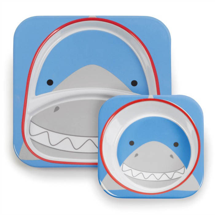 Skip Hop Zoo-Kids Dinnerware- Melamine Set{Shark}