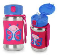 Skip Hop Zoo Stainless Steel Drink Bottle with Straw - Butterfly