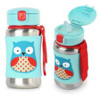 Skip Hop Zoo Stainless Steel Drink Bottle with Straw - Owl