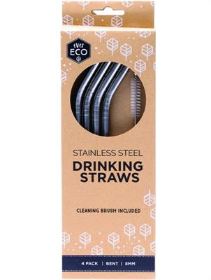 Stainless Steel Angled Drinking Straws 4 Pack and Brush