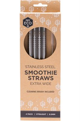 Stainless Steel Smoothie Straws 4 pack and Brush