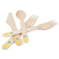 Sunny Life Wooden Cutlery 24 Set - Pineapple