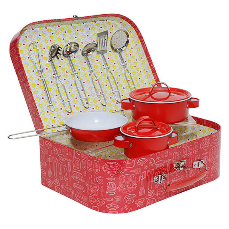 Vintage tin kitchen set pretend play tiger tribe toys for Kitchen set red
