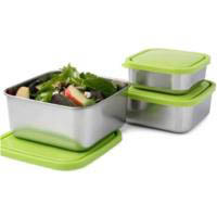 U Konserve Stainless Steel Square Nesting Trio-Set of 3-Lime