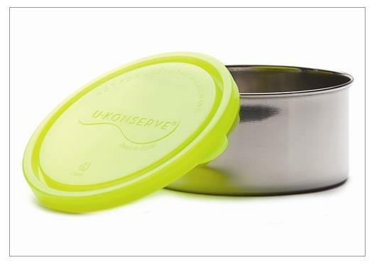U Konserve Large round sstainless steel container-Neon Green