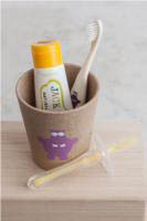 Pictured here is the Gift Kit which includes the Hippo Rinse/Storage cup, toothbrush, silicone toothbrush & toothpaste
