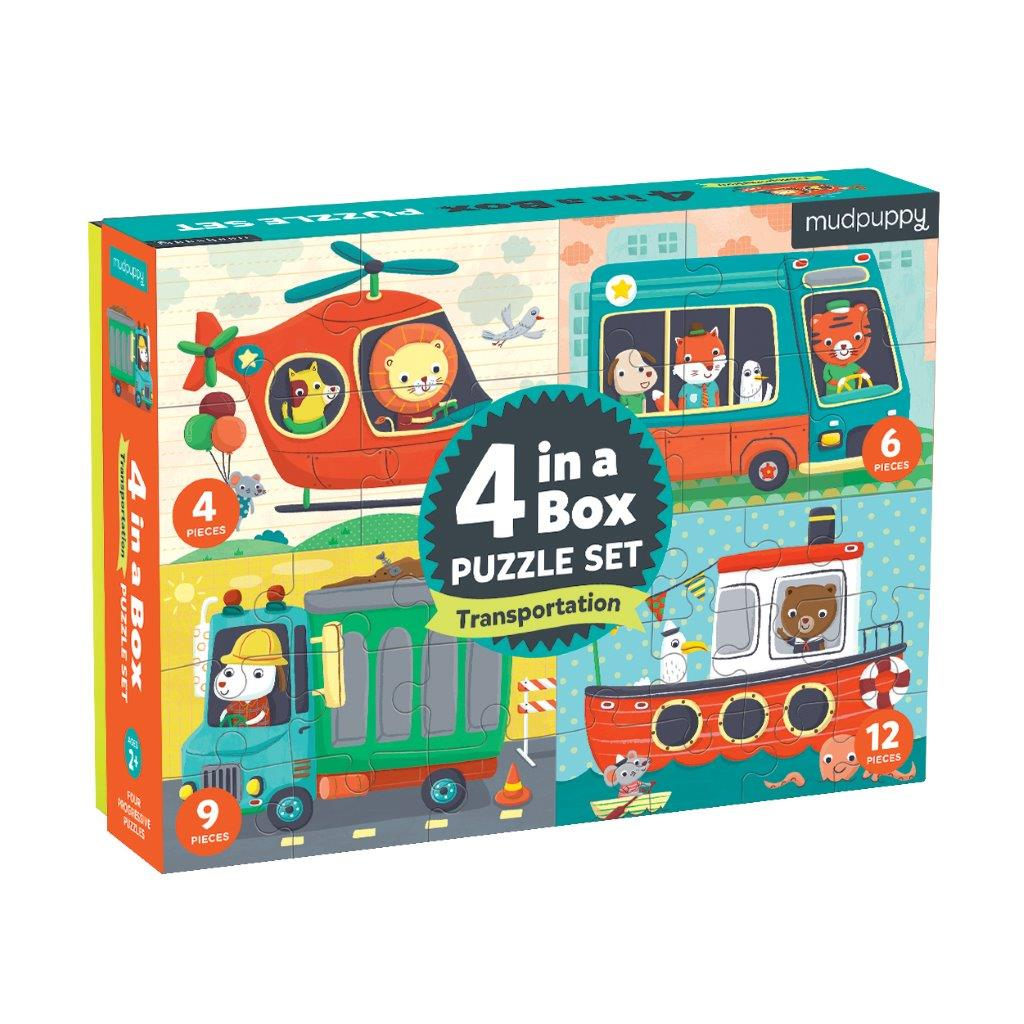 4 in a Box Transport Kids Puzzle Set