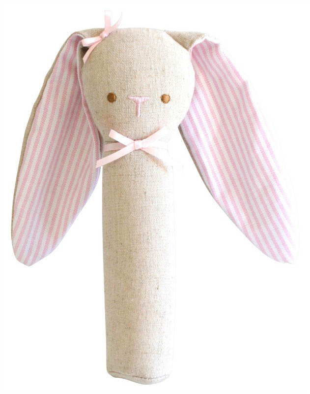 Alimrose - Linen Bunny Rattle and Squeaker - Pink