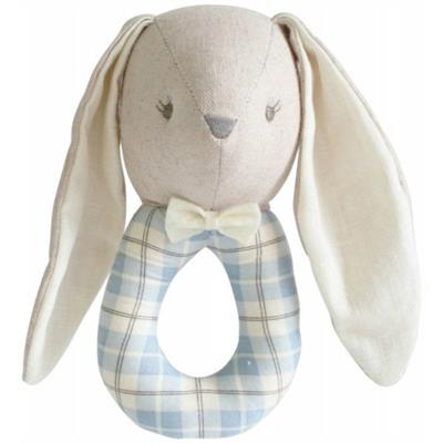 Alimrose - Linen Louie Bunny Grab Rattle - Blue