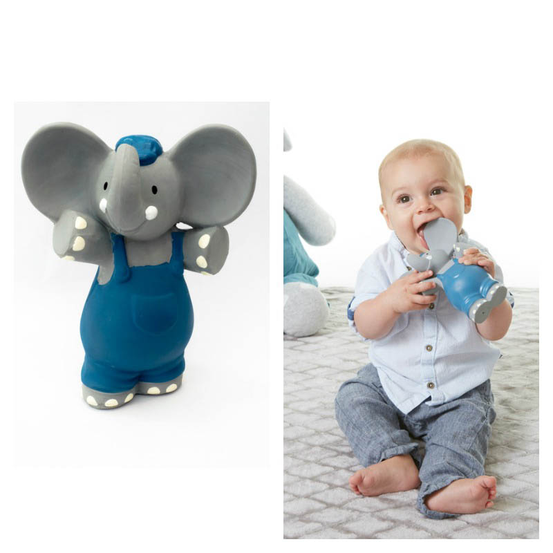 Alvin the Elephant - Natural Rubber Squeaker Toy Teether