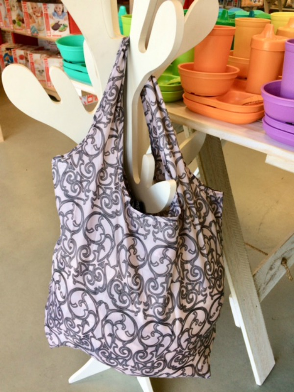 Apple Green Duck Yetty Reusable Tote Bag Grey Scroll