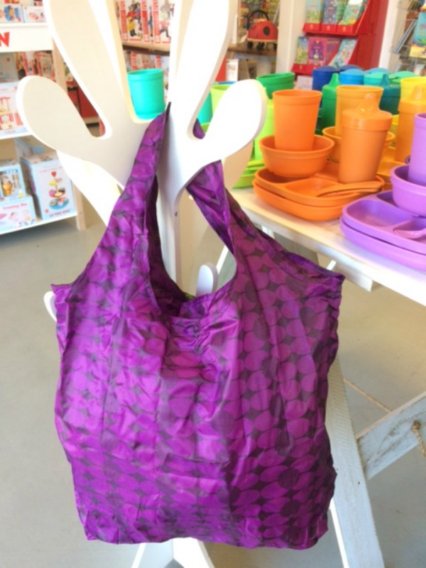 Apple Green Duck Yetty Reusable Tote Bag Purple Circles