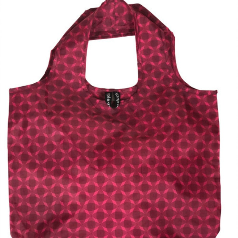 Apple Green Duck Yetty Reusable Tote Bag Pink Circles