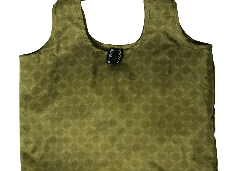 Apple Green Duck Yetty Reusable Tote Bag Olive Circles