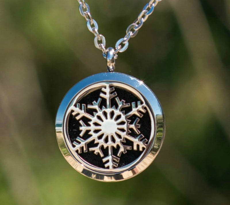 Aroma Jewels Essential Oil Diffuser Locket Necklace Snowflake