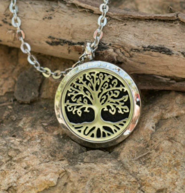 Aroma Jewels - Essential Oil Diffuser Locket Necklace - Tree Of Life