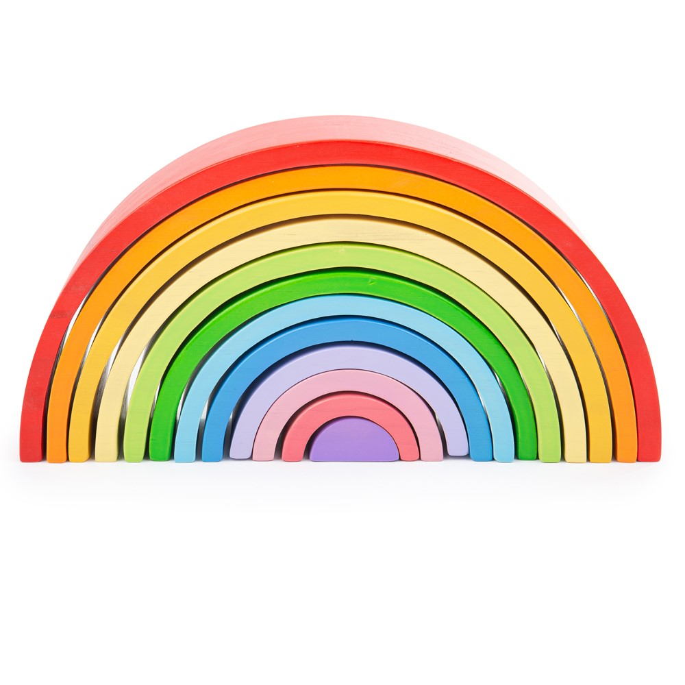 Bigjigs Toys Large Wooden Rainbow Stacking Toy 12pcs