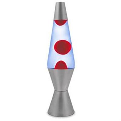 Blue and Red Retro Lava Lamp with Silver Base