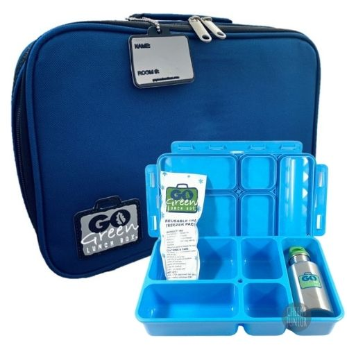 Blue Bomber Go Green Lunch Box Set