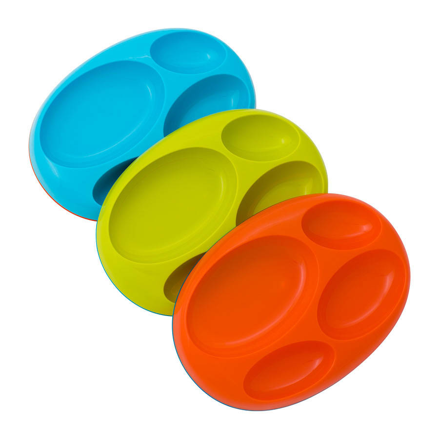 Boon- Kids Feeding Plates-Edgeless Nonskid Platter {Blue Multi 3 pk}