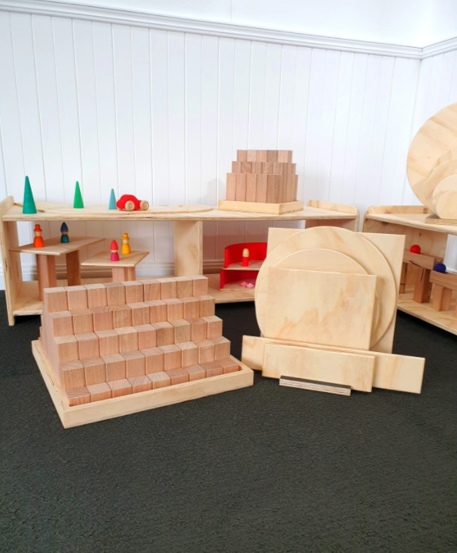 Wooden Building Blocks and Building Platforms Package