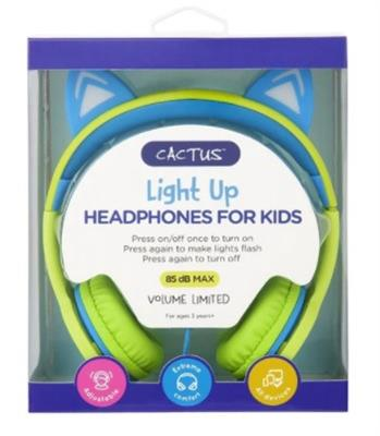 Cactus Comfort Kids Headphones Cat Ear Light up Lime/Blue
