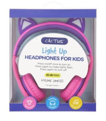 Cactus Comfort Kids Headphones Cat Ear Light up Pink/Purple