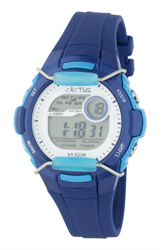 Cactus Shield Tech Time LCD Blue Digital Kids Watch
