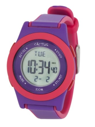 Cactus Shine Digital Watch - Purple/Pink trim