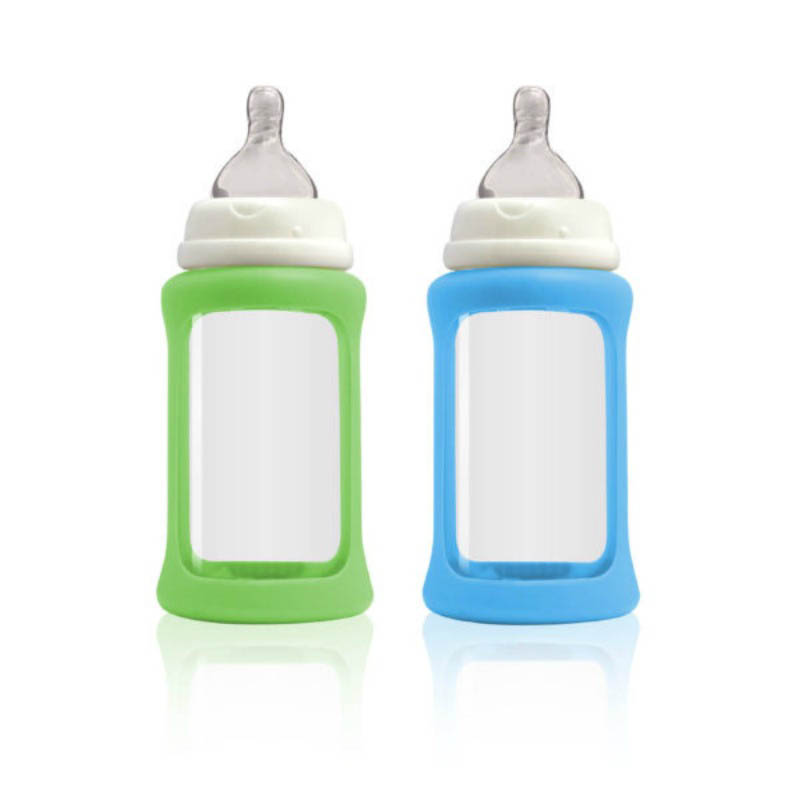 Cherub Baby Glass Baby Bottle - Wideneck 240ml (2pack) Blue&Green