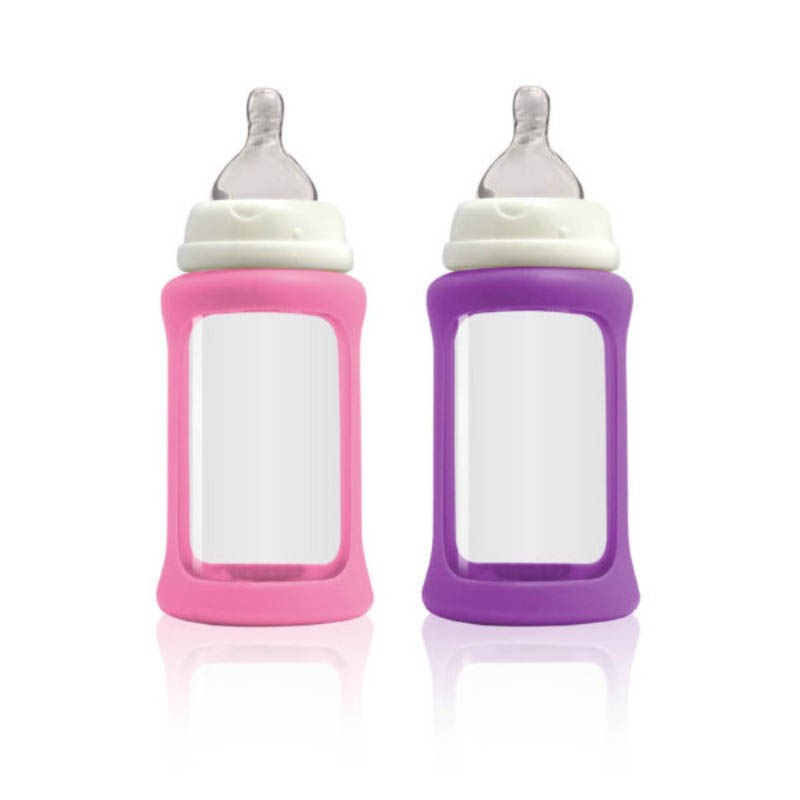Cherub Baby Glass Baby Bottle - Wideneck 240ml (2pack) purple&pink