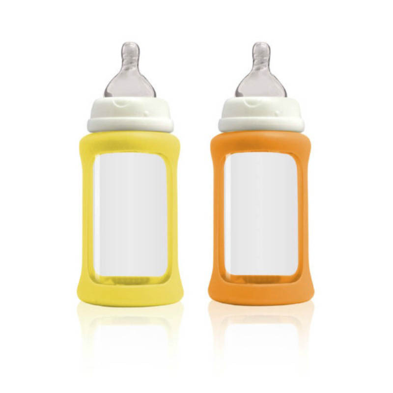 Cherub Baby Glass Baby Bottle - Wideneck 240ml (2pack) Yellow&Orange