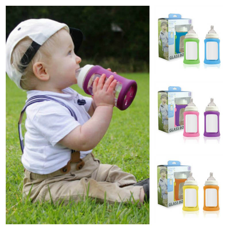 Cherub Baby Wideneck Glass Baby Bottle 240ml 2pack